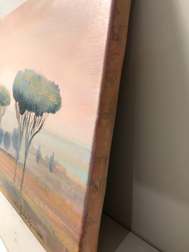 'Cypress at Sunset' Oil on Canvas French Landscape Painting For Sale 2