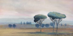 'Cypress at Sunset' Oil on Canvas French Landscape Painting