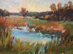 'Morning's Beauty' Small Framed Impressionist Oil on Board Landscape Painting