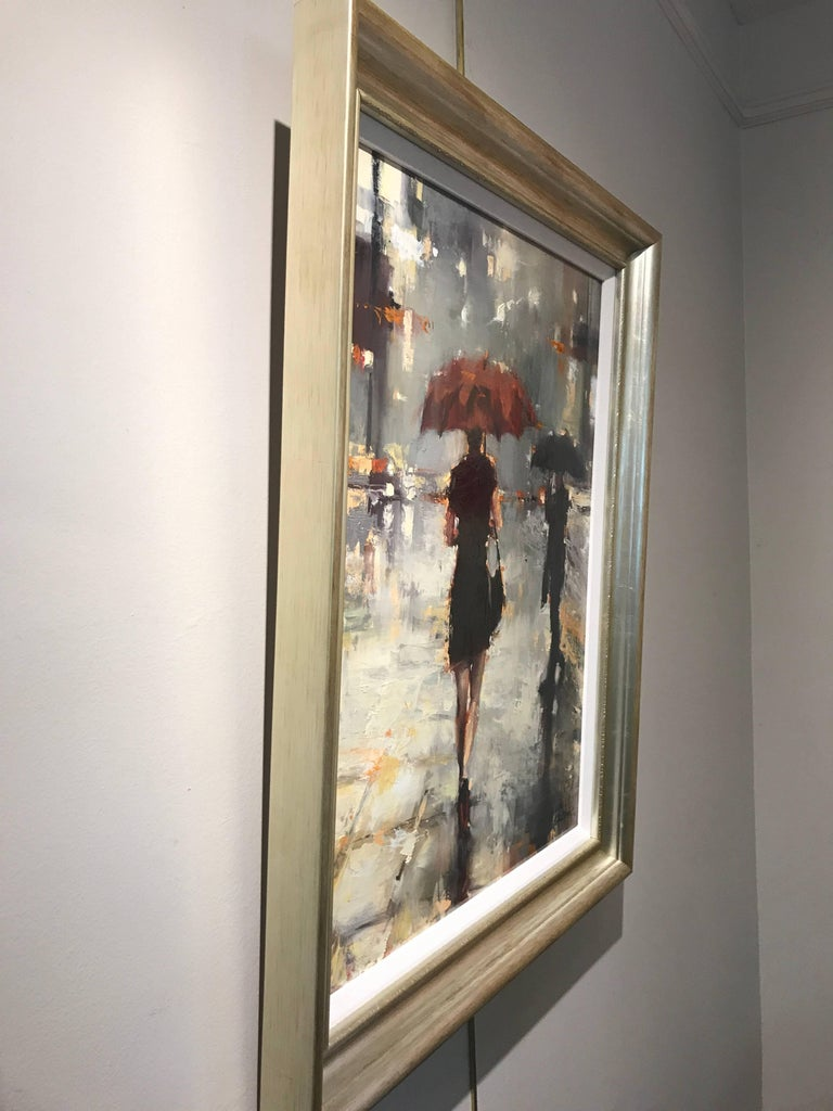 This piece depicts a woman walking on a city street int he rain with a black dress, black pumps with red soles and a beautiful red umbrella.  The gorgeous palette consists of blue, green, black, white, red, nude and orange.  It's framed in a