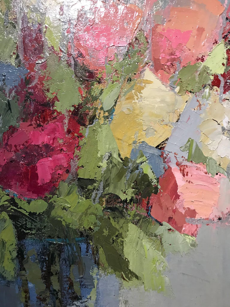 Angela nesbit 39 bright bouquet 39 large impressionist oil for Bright flower painting