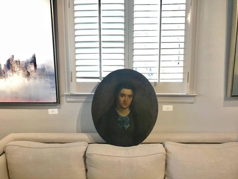 'Oval Portrait' Vintage Late 19th Century French Portrait Painting For Sale 1