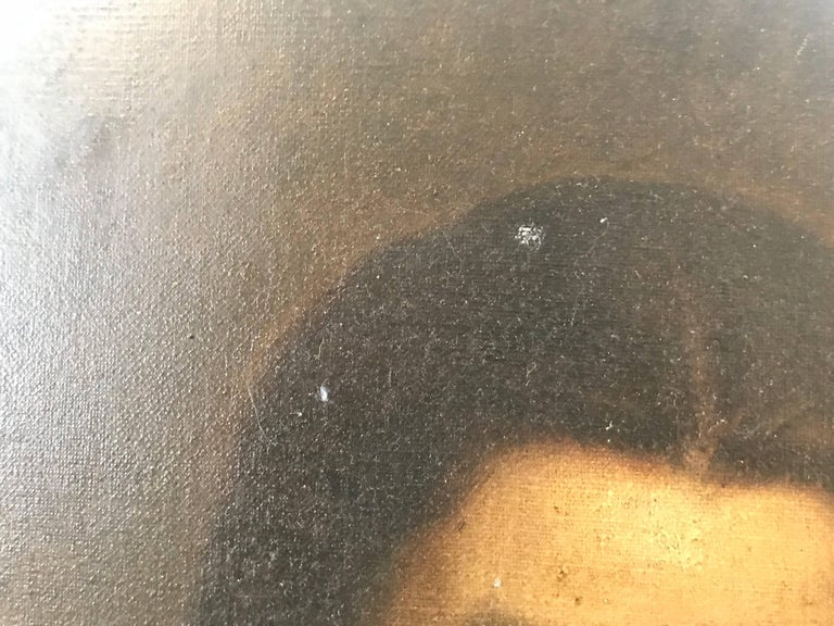 'Oval Portrait' Vintage Late 19th Century French Portrait Painting For Sale 4