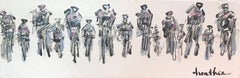 Cyclists I, Horizontal Contemporary Mixed Media on Canvas Sports Painting