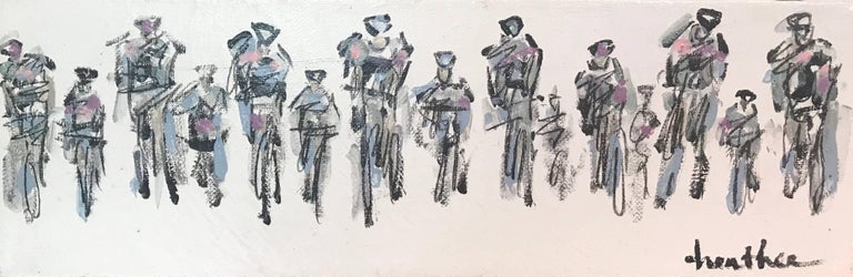 Heather Blanton Figurative Painting - Cyclists I, Horizontal Contemporary Mixed Media on Canvas Sports Painting