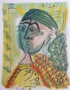 Cheveux Verts, Raymond Debiève Original 1968 Post-Cubist Oil on Paper Painting