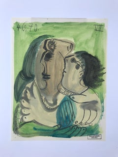 Duo Cubiste, Raymond Debiève Original 1970 Post-Cubist Oil on Paper Painting
