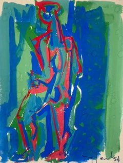 Green and Blue, Yves Jobert Original 1954 Vintage Gouache on Paper Drawing