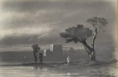 Orientalist Landscape Drawing on Paper by French Artist Juste Fruchard, 1850s