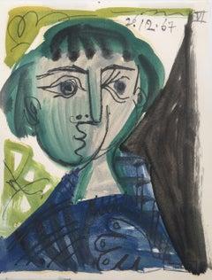 Femme Pensive, Raymond Debiève 1967 Post-Cubist Original Oil on Paper Painting