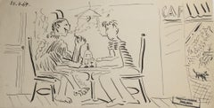Drinks with Death, Raymond Debiève Original 1967 Ink on Paper Horizontal Drawing