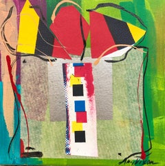 Sussie III by Amy Dixon, small square abstract present painting on canvas