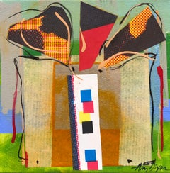 Sussie IV by Amy Dixon, small square abstract present painting on canvas