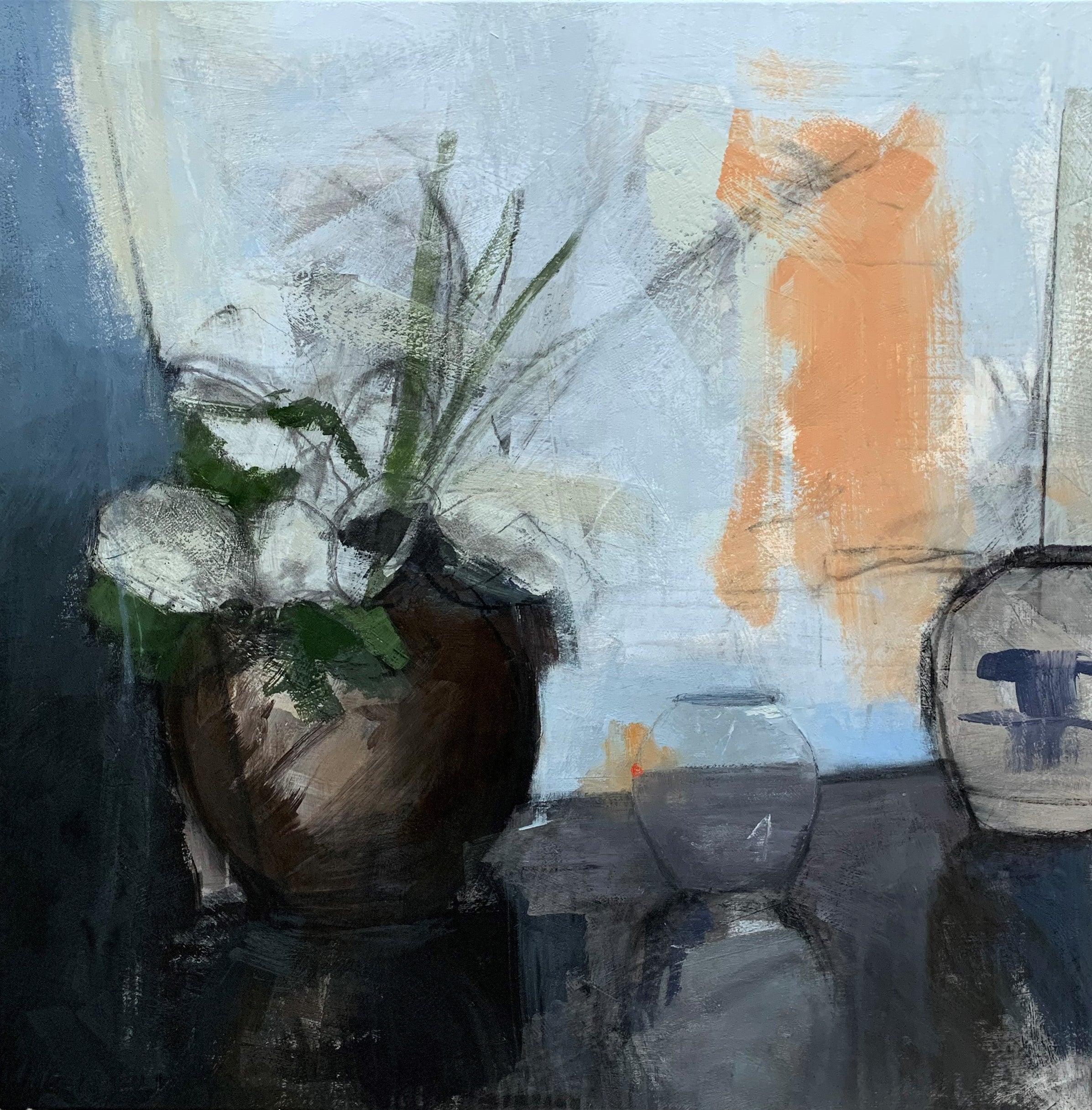 My Kenyan Pot by Sharon Hockfield, Contemporary Floral Still Life