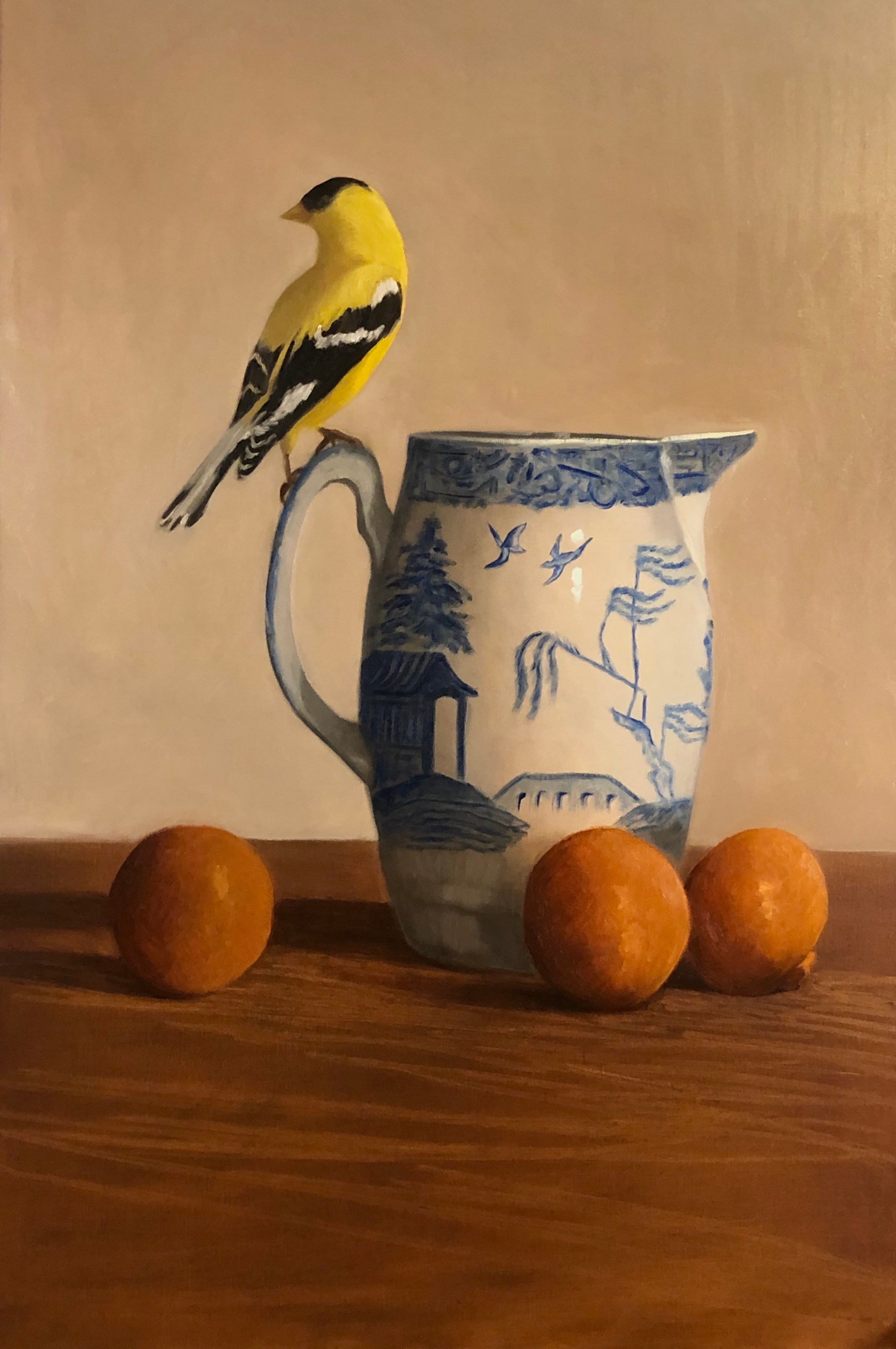 Blue Willow, Gold Finch by Ginny Williams, Framed Realist Still-Life Painting