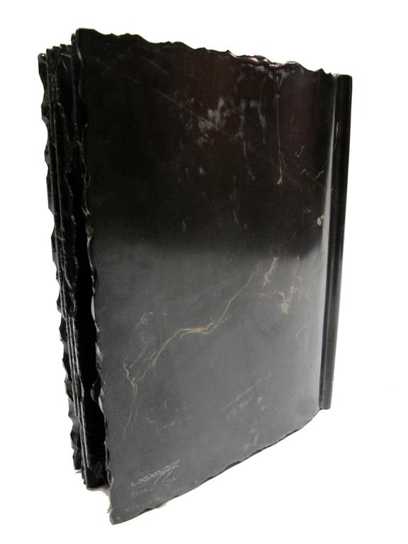 The Black Book by KARTEL - unique handcarved marble sculpture - smooth finished  For Sale 5