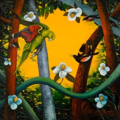 Rights of Spring, b y Ed Smith, Colorful Oil on Canvas with Birds and Flora