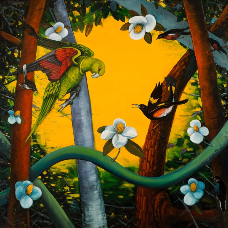 Rights of Spring, b y Ed Smith, Colorful Oil on Canvas with Birds and Flora - Painting by Ed Smith