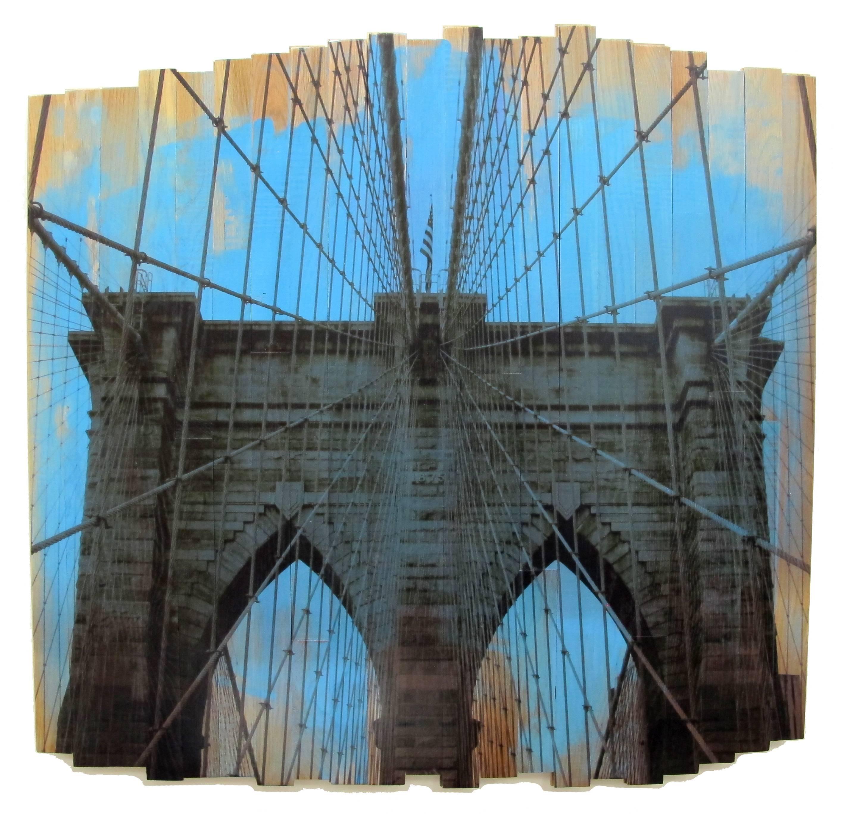 Brooklyn Bridge III, Blue Skies, mixed media photography on wood