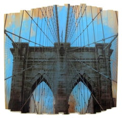 Brooklyn Bridge III, Blue Skies, mixed media photography on wood
