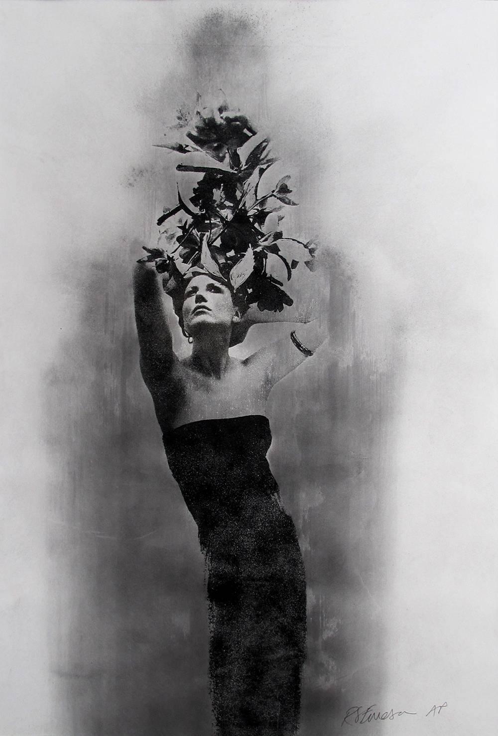 Ele, mixed media silk screen print on paper, female portrait