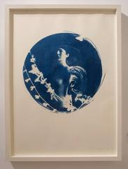 Aquila, Round cyanotype on paper, white box frame, romantic vintage looking nude