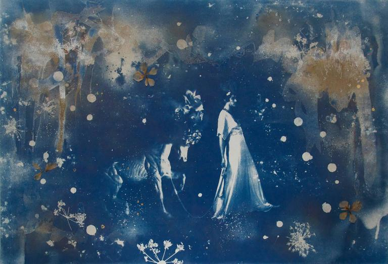 Parade, hand-finished cyanotype on paper, with pressed flowers and gold leaf