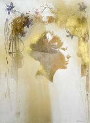 Sophie # 5, hand painted mixed media portrait photography on paper, framed