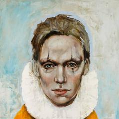 The Second Act by Michele Mikesell - oil on canvas - Harlequin portrait painting