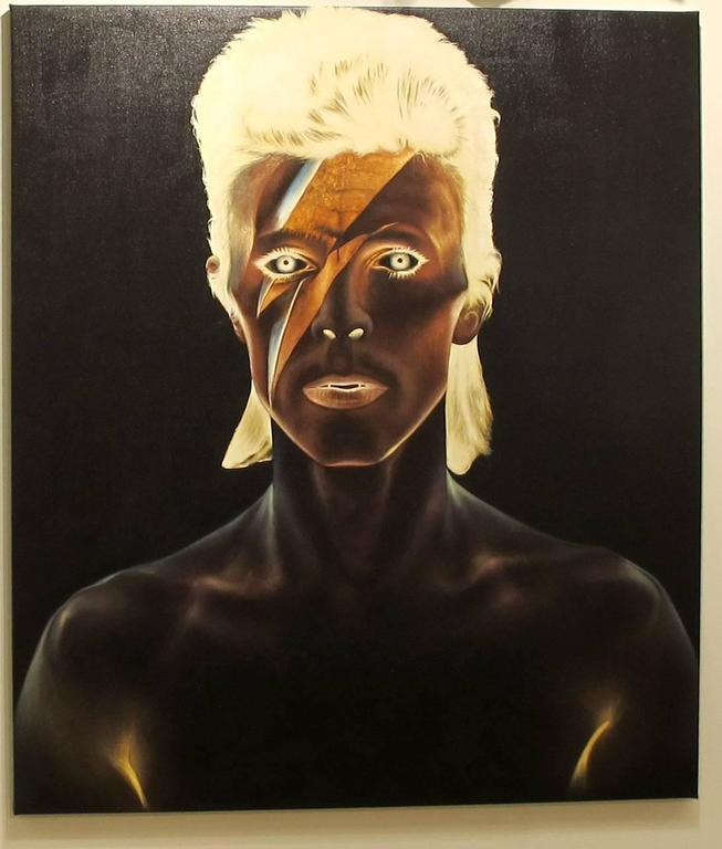 David Bowie, Oil on canvas, portrait of the rockstar, black background - Painting by KARTEL