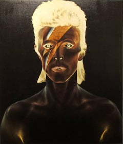 David Bowie, Oil on canvas, portrait of the rockstar, black background