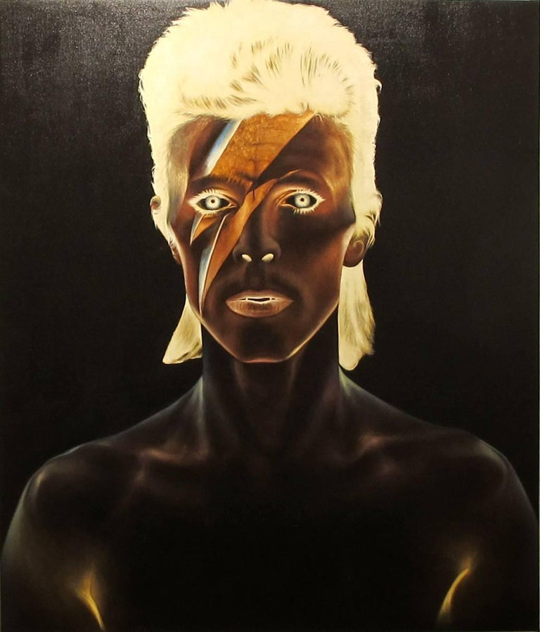 KARTEL Figurative Painting - David Bowie, Oil on canvas, portrait of the rockstar, black background