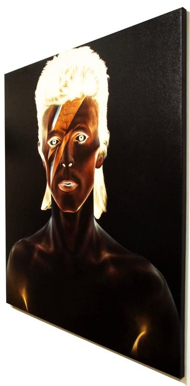 David Bowie, Oil on canvas, portrait of the rockstar, black background - Contemporary Painting by KARTEL