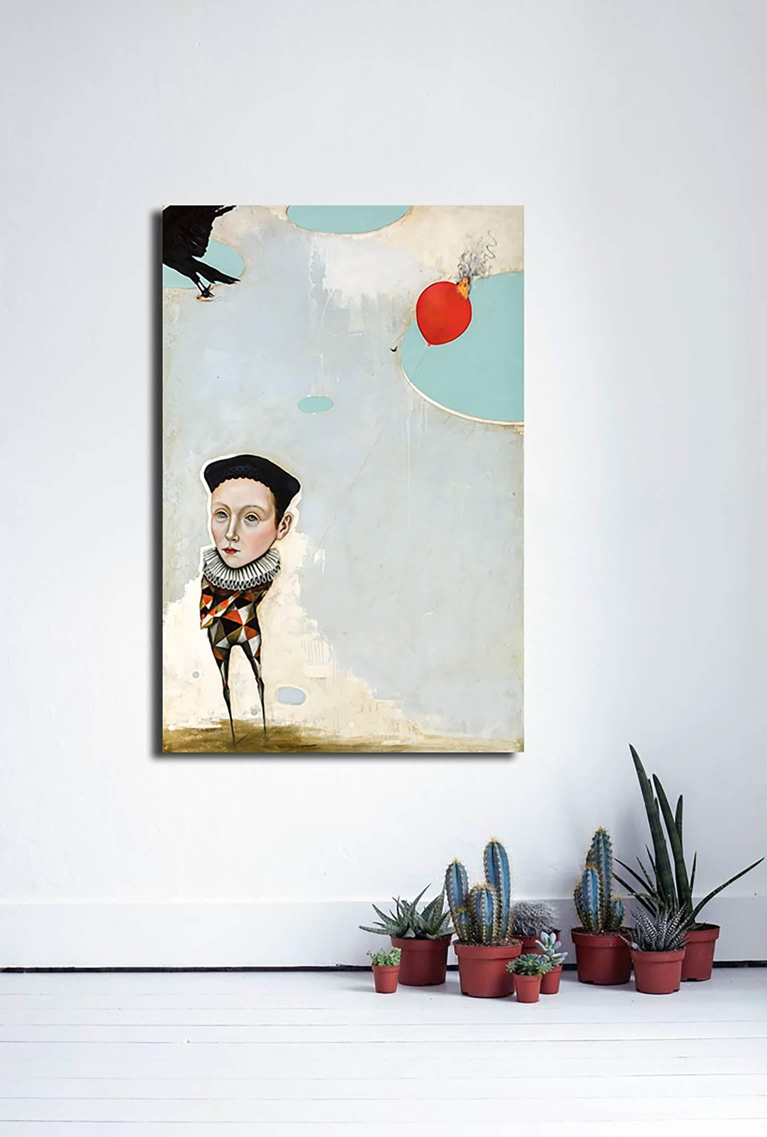 The Last Balloon, oil on canvas, pop-surrealism figurative painting, w harlequin