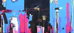 She Was on Top of the Hill, Colorful horizontal abstract painting