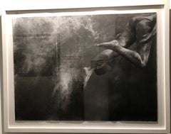 Heaven Bound by Patsy McArthur, charcoal on paper swimmer - white box frame