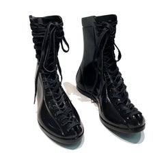 Boxing Boots by KARTEL unique hand carved black marble sculpture smooth finish