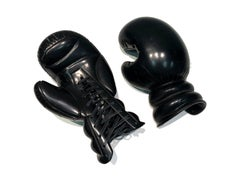 Boxing Gloves by KARTEL unique hand carved black marble sculpture smooth finish