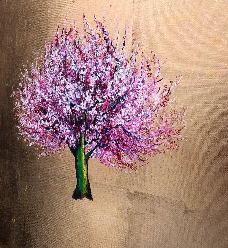 Morning Greeting, Elegant Oil on Canvas with Gold Leaf, Pink Tree & Flowers  For Sale 3