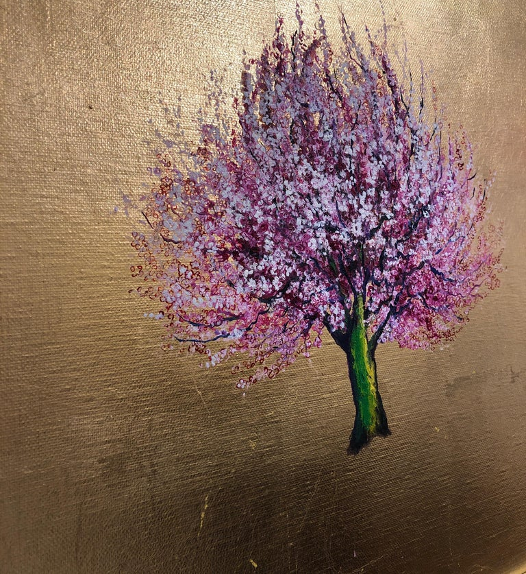 Morning Greeting, Elegant Oil on Canvas with Gold Leaf, Pink Tree & Flowers  For Sale 4