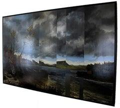 Lake St George Kensett, Old master landscape, modern style, oil on metal