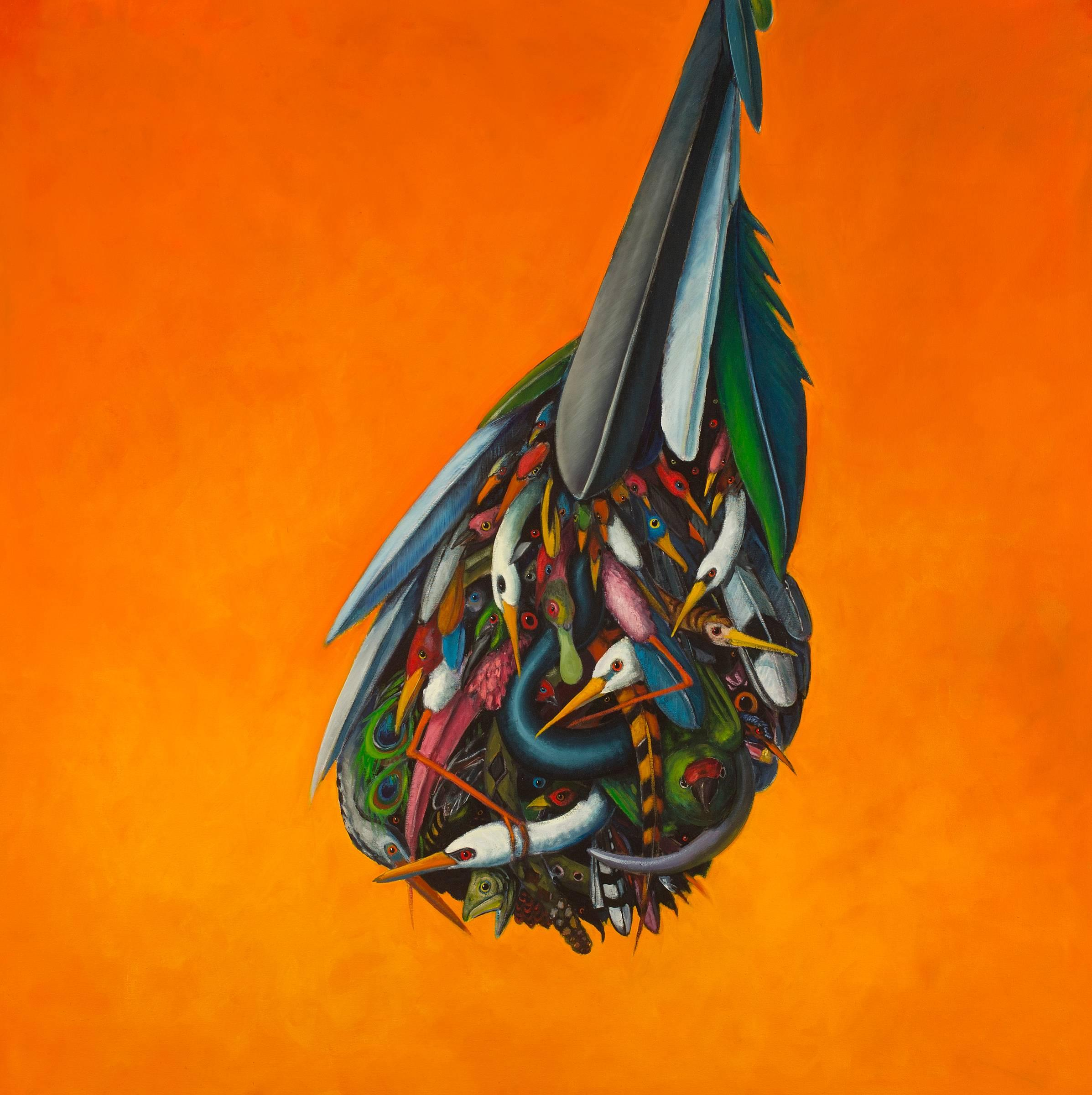 Drop, Orange and Colorful Abstract Bird Painting, Oil on Canvas