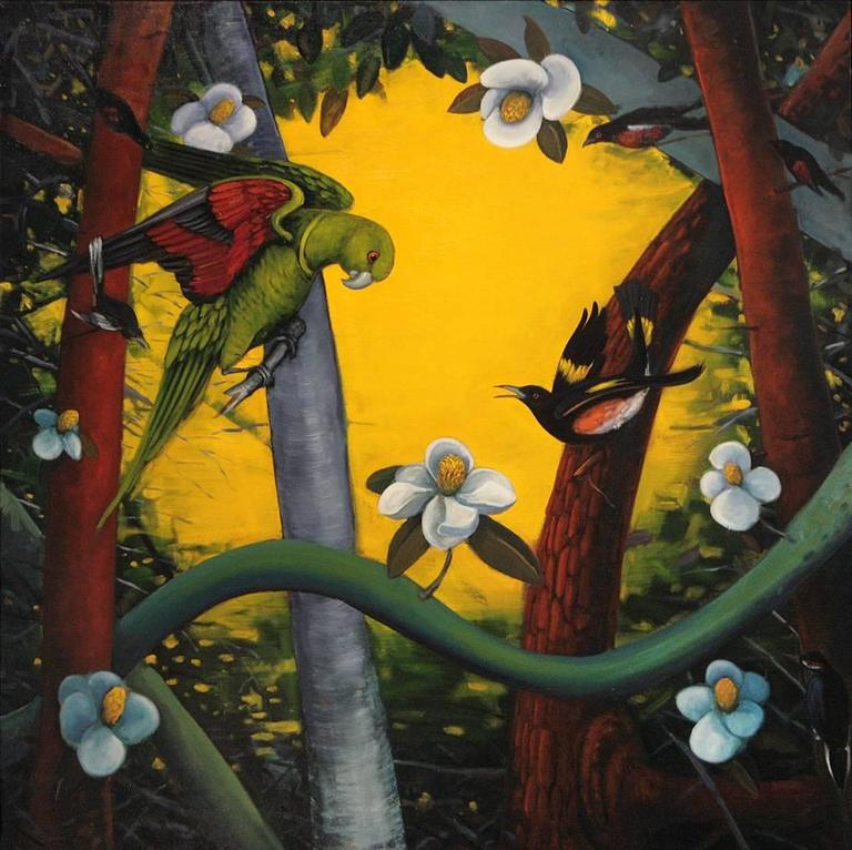 Rights of Spring, b y Ed Smith, Colorful Oil on Canvas with Birds and Flora - Contemporary Painting by Ed Smith