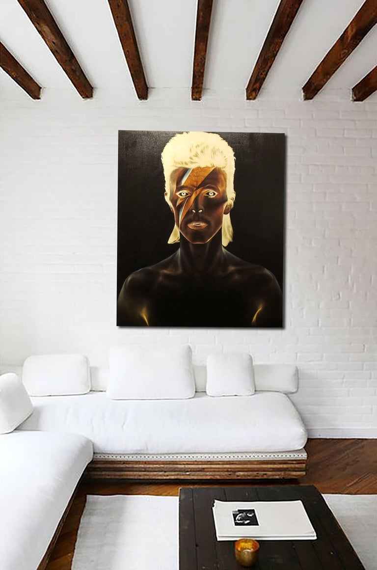 David Bowie, Oil on canvas, portrait of the rockstar, black background - Black Figurative Painting by KARTEL