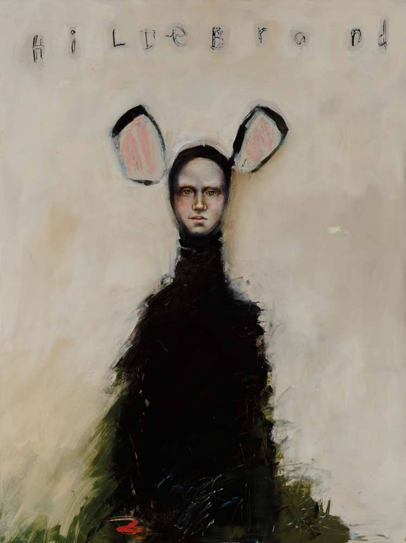 Hildebrand, Abstract figurative oil on canvas, Animal-human, soft background