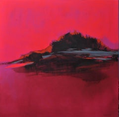 Burning PInk Landscape, Dynamic contemporary, bright abstract oil painting