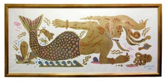 Mermaid Dream, Ancient Greek inspired painting on paper, hand finished gold leaf
