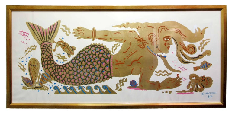 Apostolos Chantzaras Figurative Print - Mermaid Dream, Ancient Greek inspired painting on paper, hand finished gold leaf