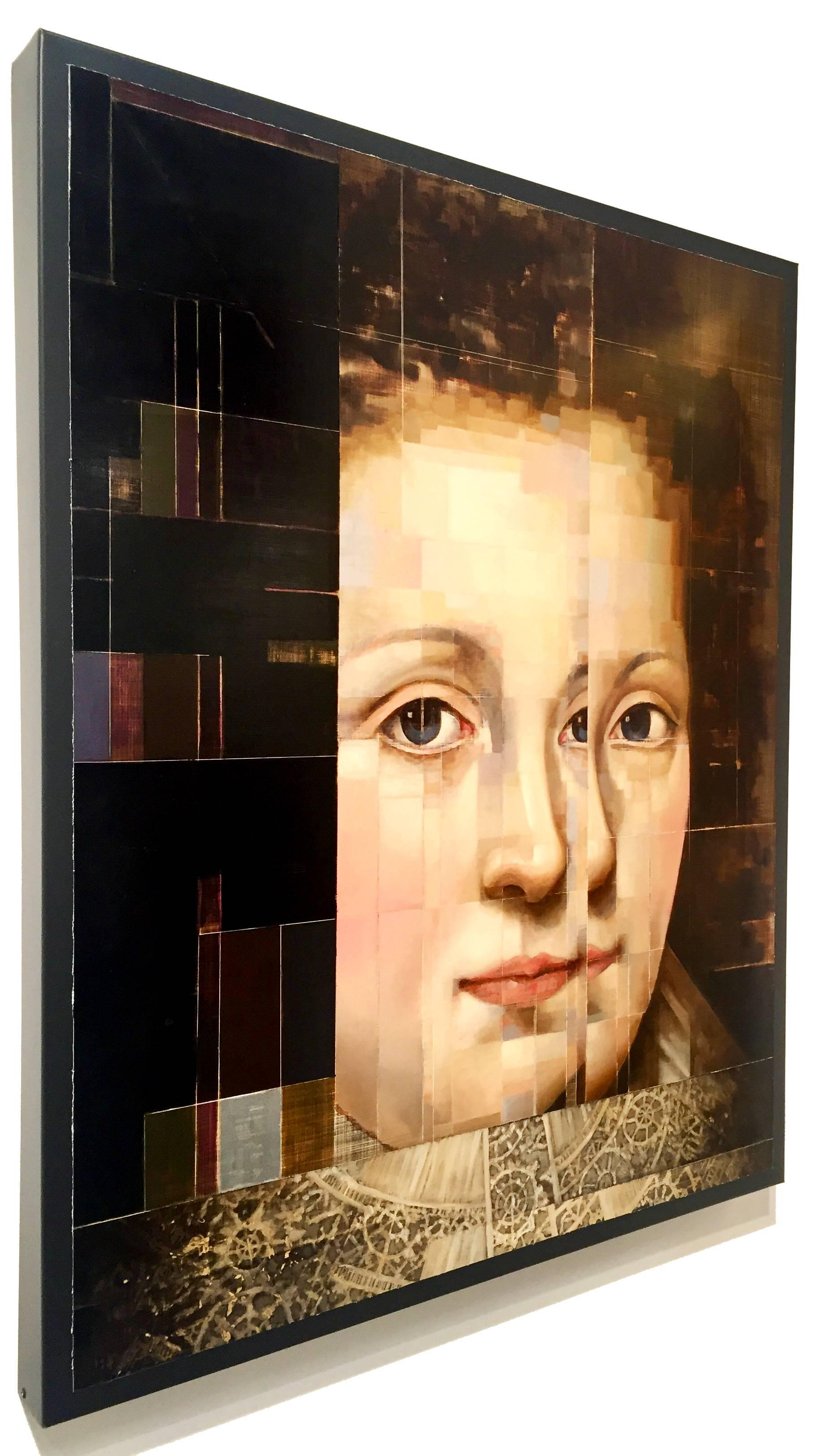 Countess of Arundel with Matrix, Old master style modern approach, Oil on metal