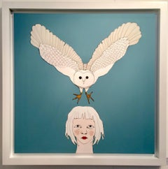 Child With Owl, blue wire and oil on canvas with white frame - sculpural art